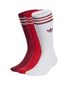 Shop adidas Originals Solid Crew Sock 3 Pairs White Collegiate Burgundy Scarlet at Studio 88 Online