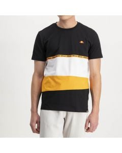 Shop ellesse Chest Panel Split Detail Logos T-shirt Mens Black Radiant Yellow at Studio 88 Online