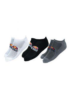 Shop ellesse Invisible Socks 3 Pack White Black Grey at Studio 88 Online