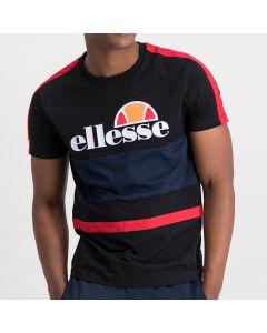 ELL992B ELLESSE-LOGO-CUT-SEW-TAPE-PRINT-T-SHIRT-MENS-BLACK-RED-V1