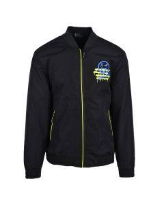 Shop Grey Wolf Smile Bomber Jacket Mens Black at Studio 88 Online