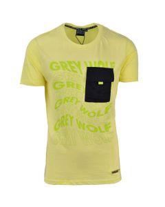 Shop Grey Wolf Swirl T-shirt Mens Yellow Irris at Studio 88 Online