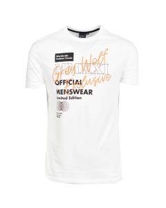 Shop Grey Wolf Cursive Logo T-shirt Mens Powder White at Studio 88 Online