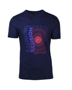 Shop Grey Wolf Illusion T-shirt Mens Navy at Studio 88 Online