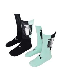 Shop Puma Two Tone 2 Pack Socks Black Green at Studio 88 Online