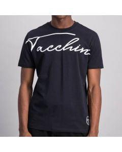 Shop Sergio Tacchini Flow Scrpt T-Shirt Mens Anthracite Blanc De Blanc at Studio 88 Online