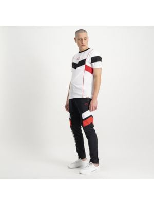 Shop ellesse Panel Poly Track Pants Mens Black White Red at Studio 88 Online