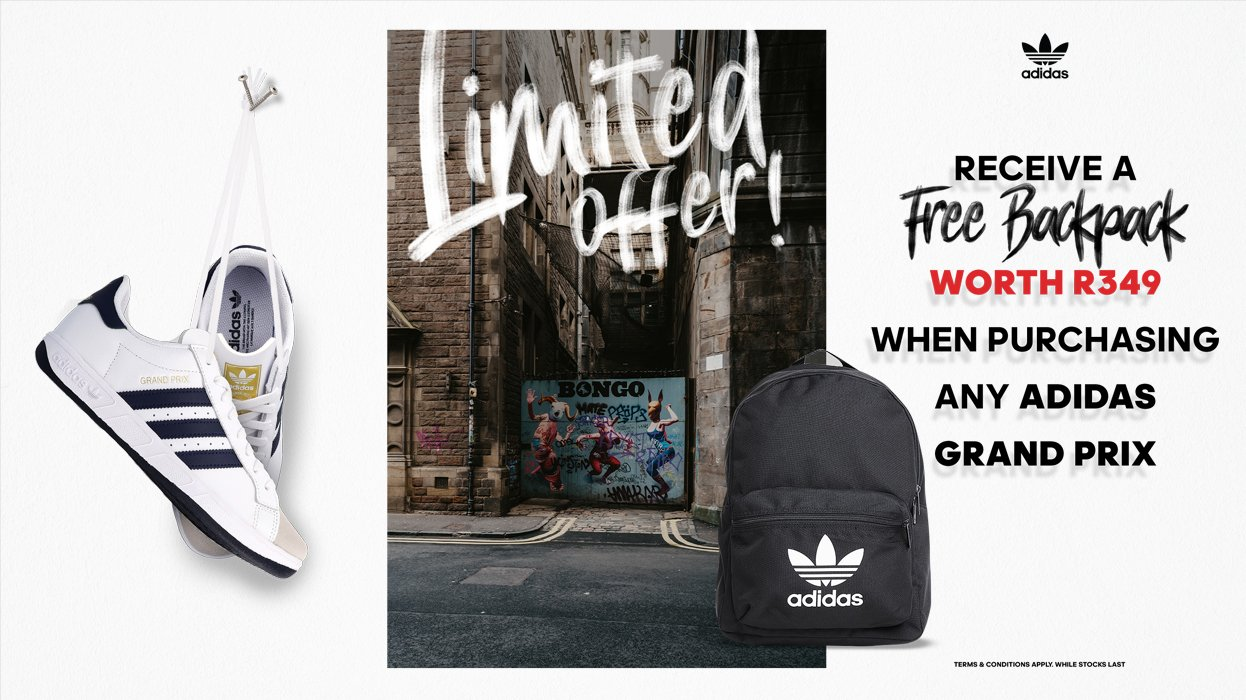 Purchase any Grand Prix and get a FREE adidas Backpack!